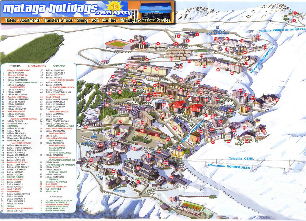 Mapa de sierra nevada granada for Guia telefonica malaga