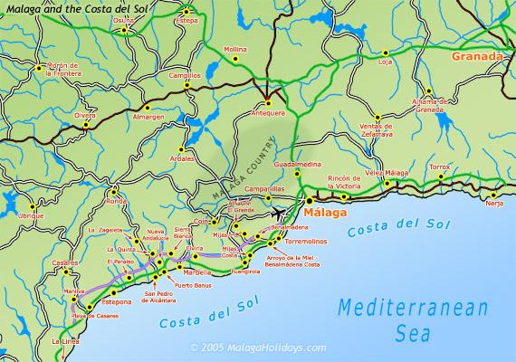 Mapa De La Provincia De Malaga Y Mapas De La Costa Del Sol