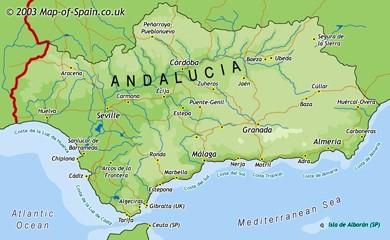 Mapa de Andalucia  MalagaHolidayses